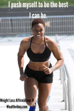 weight loss affirmations i push myself to be the best i can be. Woman in workout gear running up stairs.