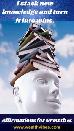 affirmations for personal growth I stack new knowledge and turn it into wins - head with stack of books