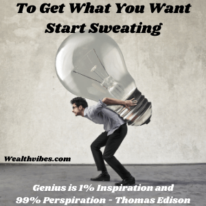 law of attraction exercises start sweating man holding giant light bulb