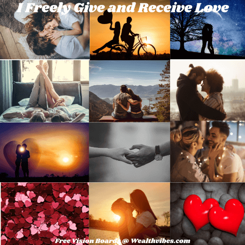 Love and Relationships Vision Board Example