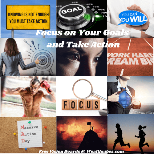 set goals take action motivation vision board