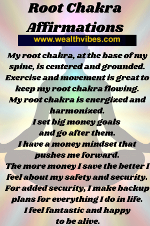 Root chakra affirmations for money and security