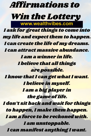 affirmations to win the lottery list