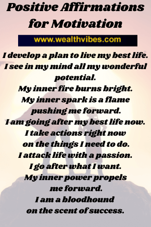 positive affirmations for motivation list