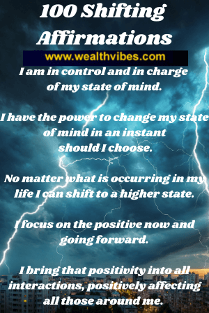 100 shifting affirmations list for a higher state of mind