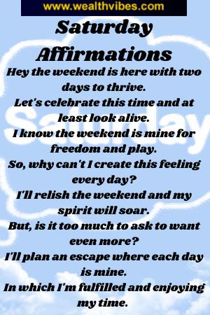 Saturday affirmations mantra